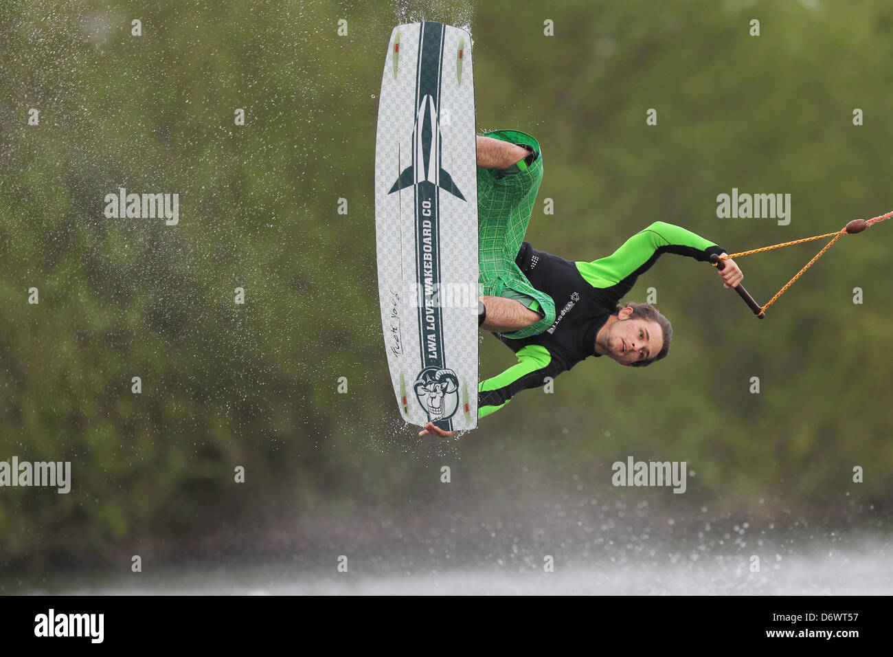 Jagel, Germany, wakeboarders at the water plant in Jagel - Stock Image
