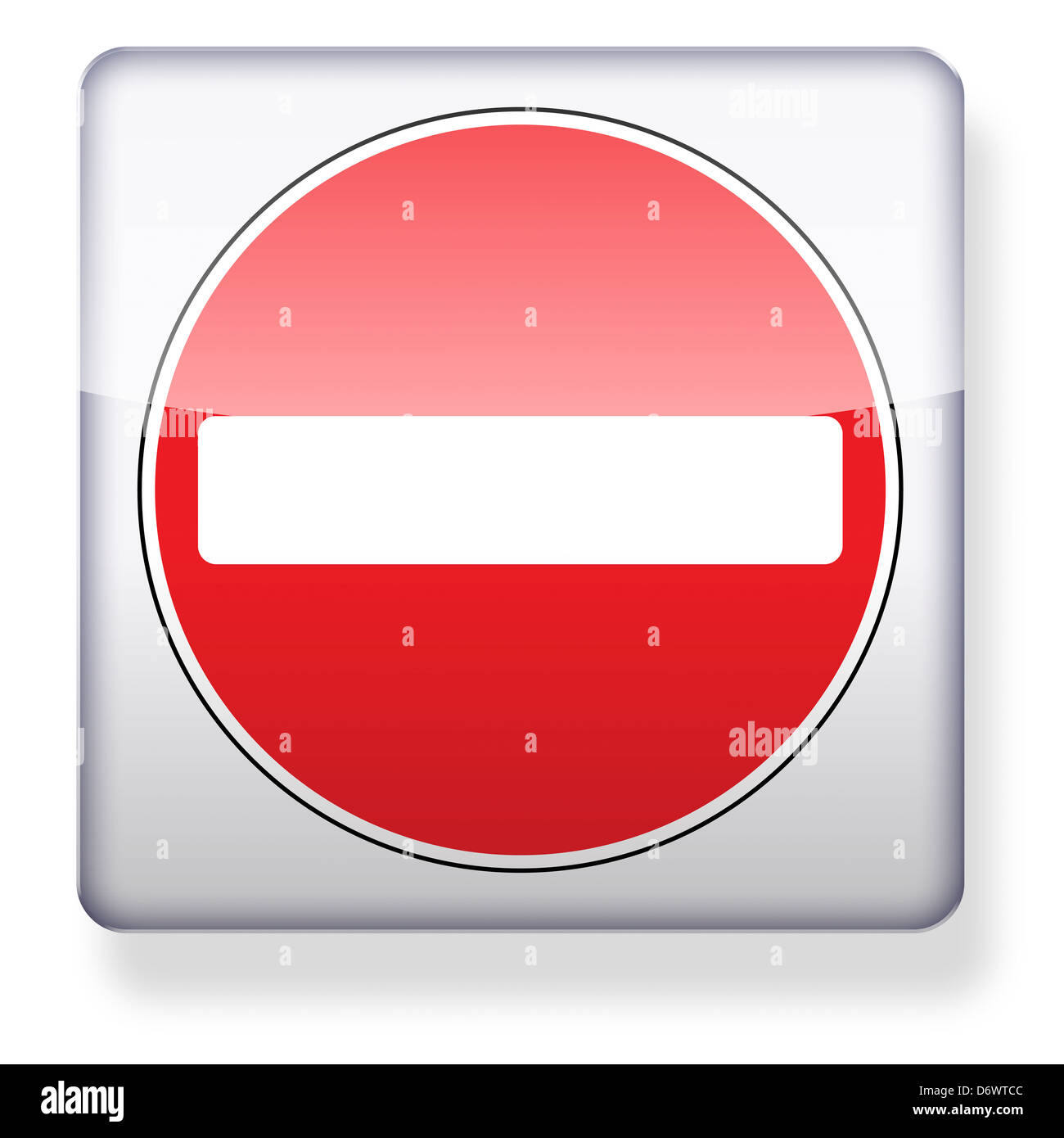 No entry road sign as an app icon. Clipping path included. - Stock Image