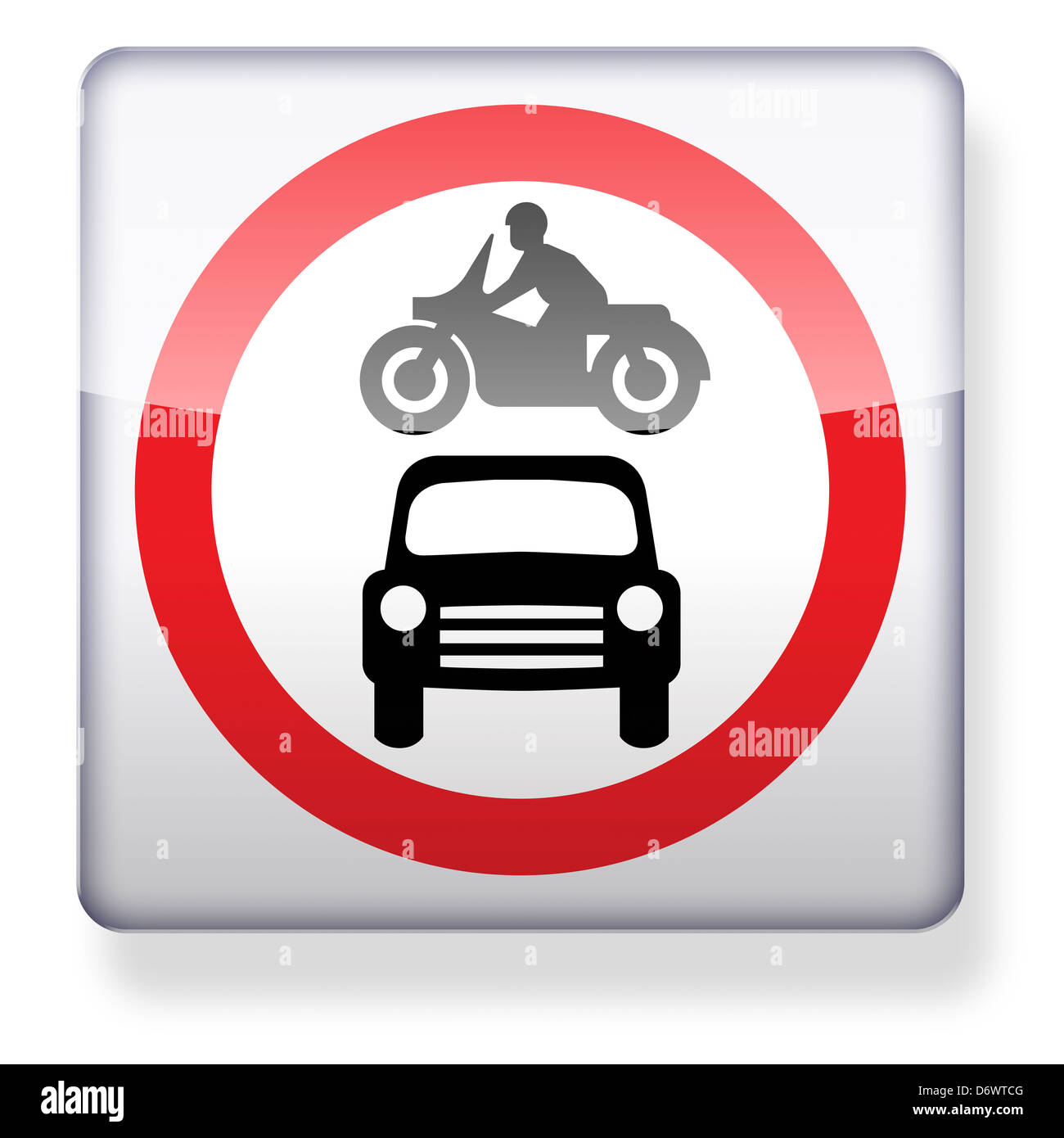 No motor vehicles road sign as an app icon. Clipping path included. - Stock Image