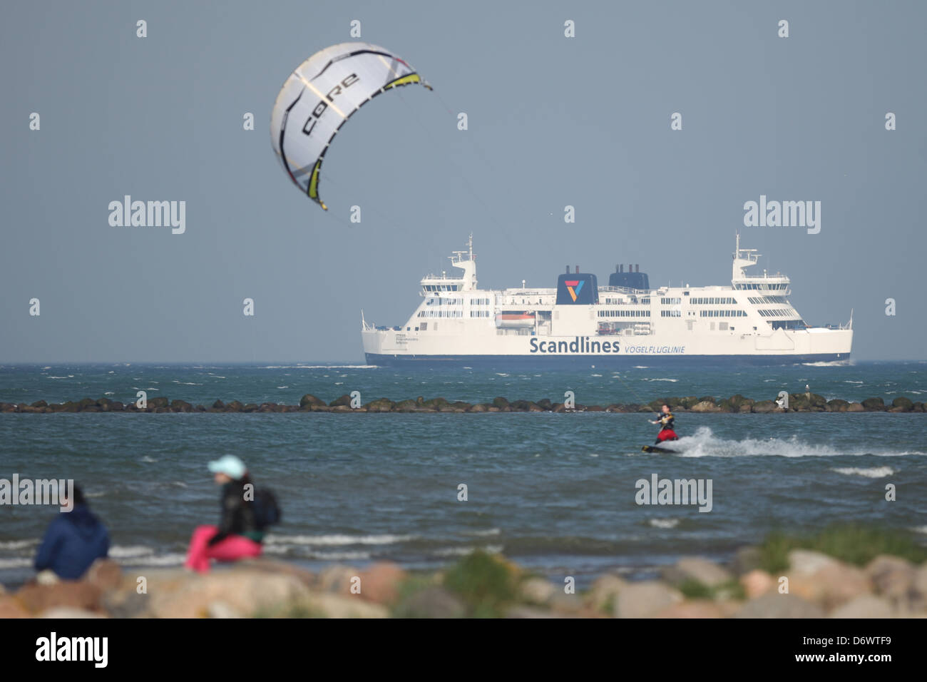 Fehmarn, Germany, kite before the ferryboat FMS Princess Benedikte- - Stock Image
