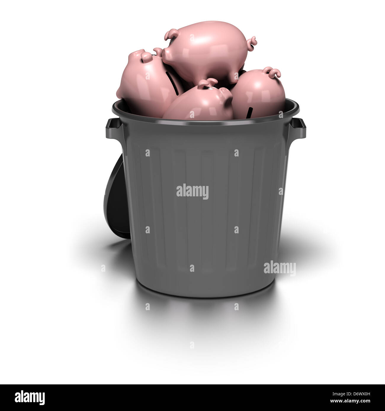 many piggy banks inside a grey garbage can. image is over a white background with reflection - Stock Image