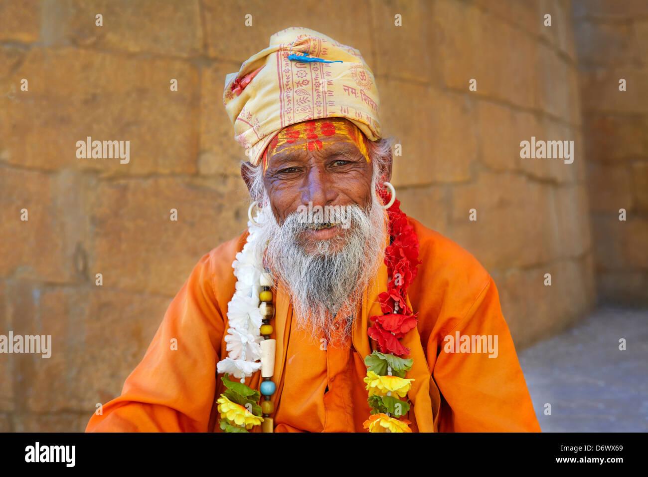 Portrait of India Hindu Holy Man, Sadhu, Jaisalmer Fort, Rajasthan, India - Stock Image