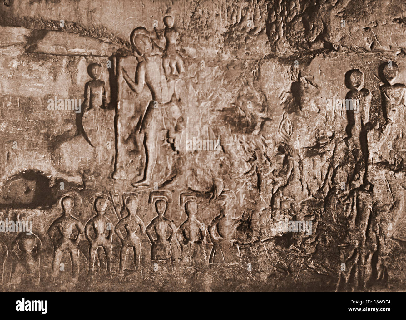Northern carved wall of Royston Cave a site possibly used by Knights Templar, Royston, Hertfordshire, England, UK - Stock Image