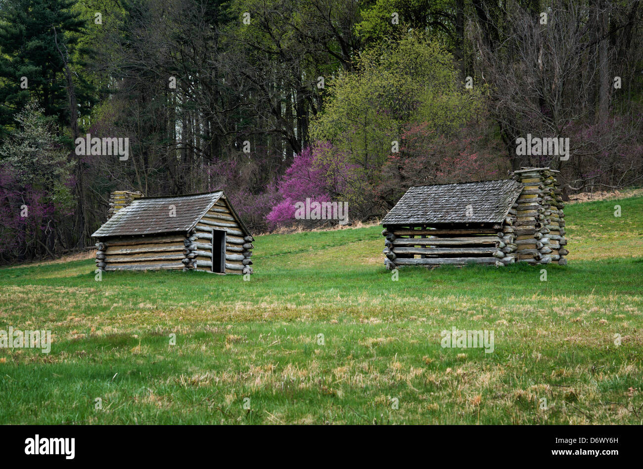 Encampment cabins at Vally Forge National Historic Park, Pennsylvania, USA - Stock Image