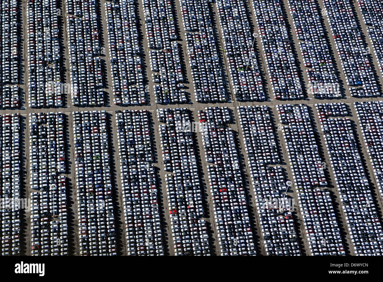 Aerial photograph of rows of cars at the Port of Bristol - Stock Image