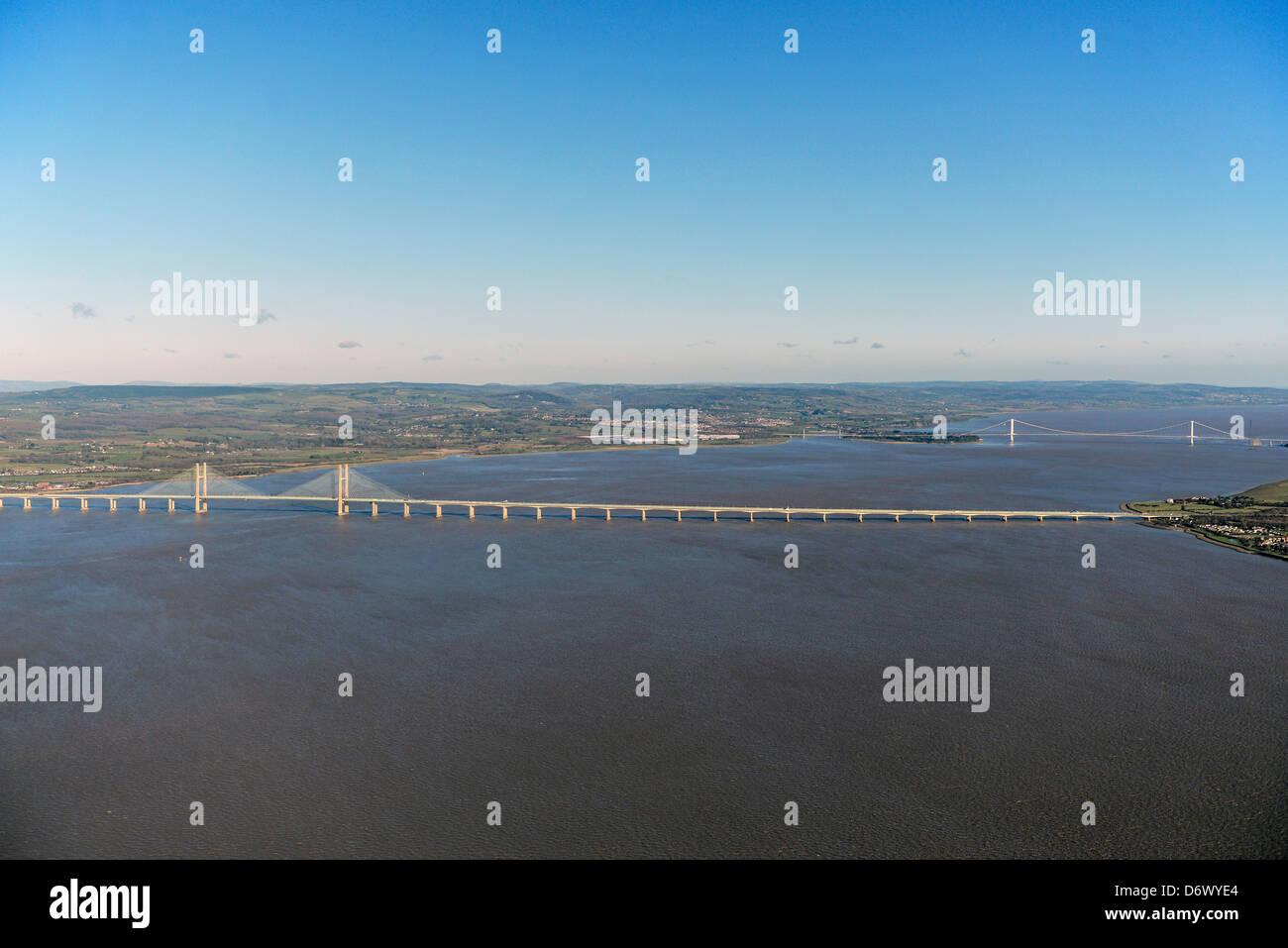 Aerial photograph of Both Severn bridges across the Severn Estuary - Stock Image