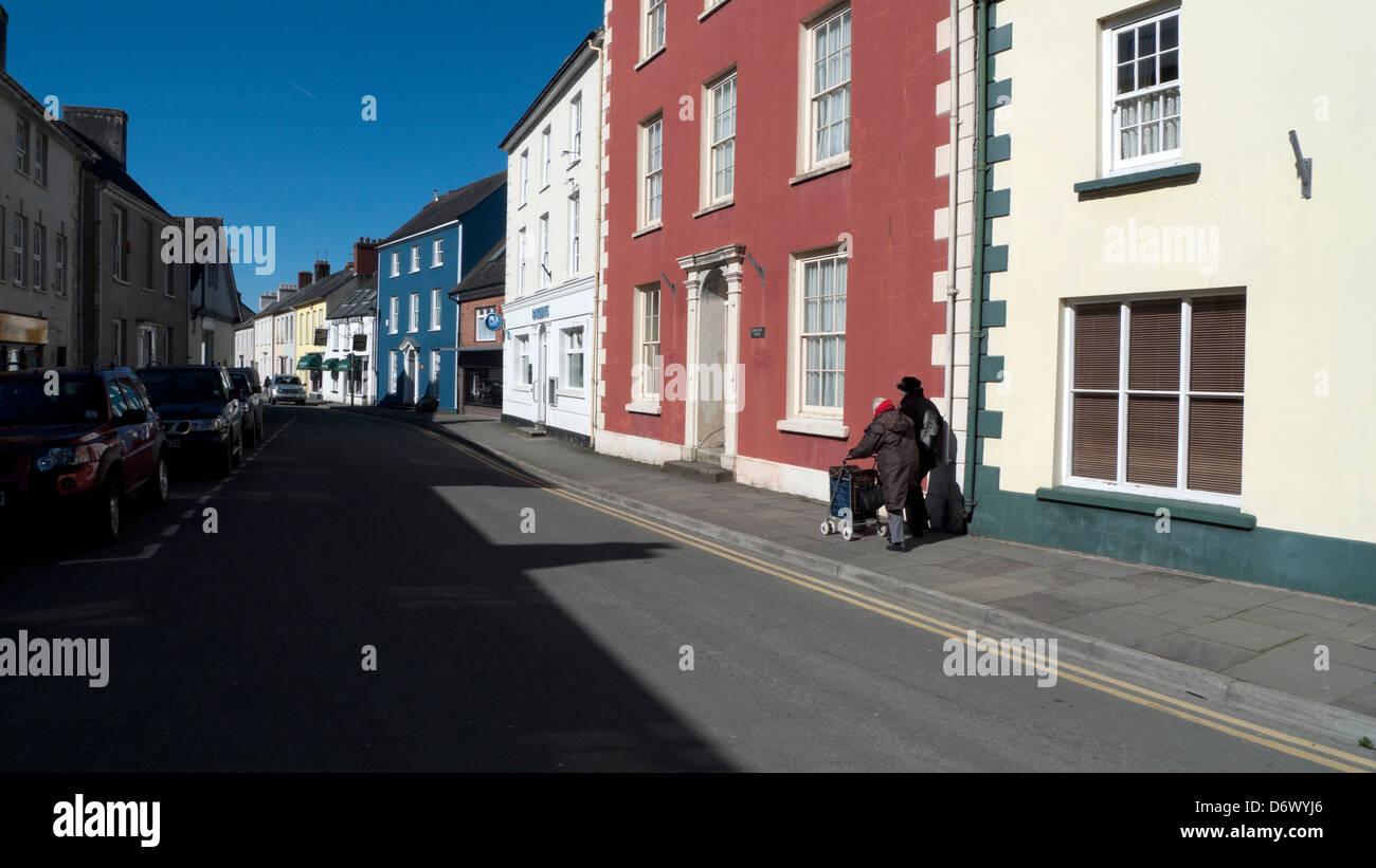 View of buildings on Llandovery street Carmarthenshire Wales UK - Stock Image