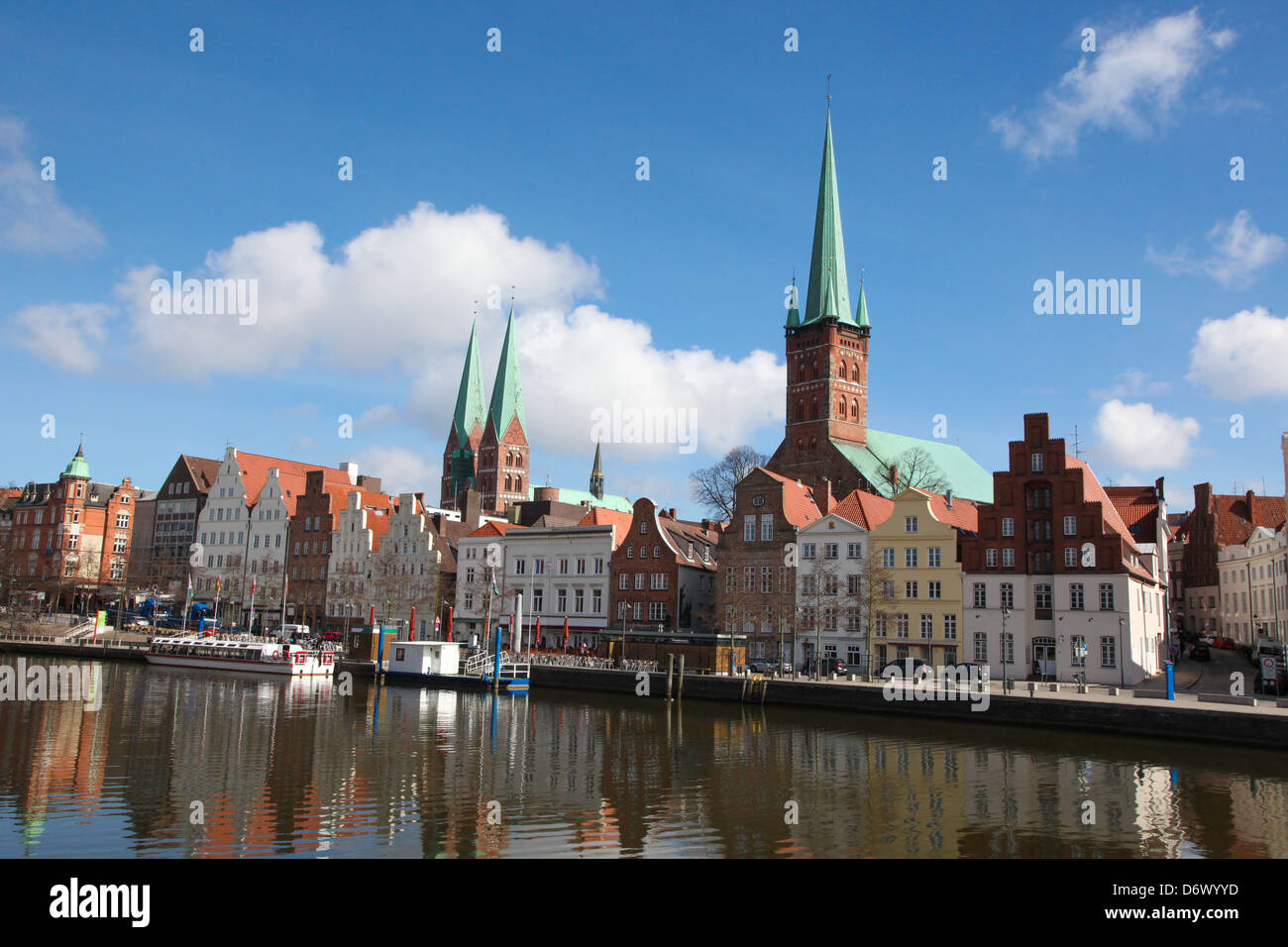 Center of Lubeck, Schleswig-Holstein, Germany, at the river Trave. - Stock Image