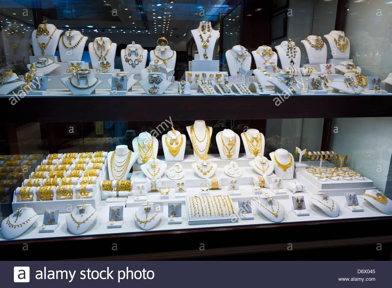 Jewelry store, Gold Souk, Dubai, United Arab Emirates - Stock Image