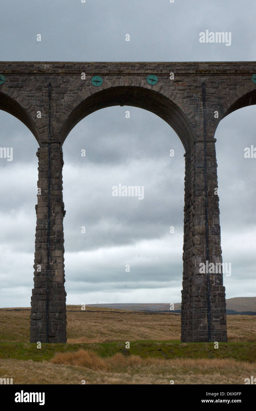 Whernside and Ribblehead viaduct walk in Yorkshire. By the 3 peaks challenge walk. - Stock Image