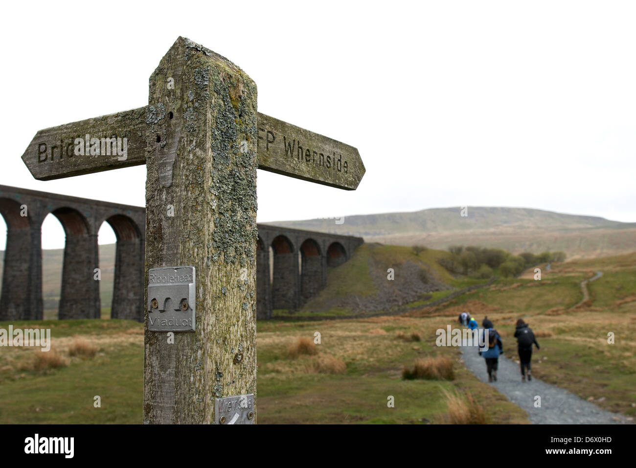 Walkers at Whernside and Ribblehead viaduct in the Yorkshire Dales. Part of the 3 peaks challenge, with a weathered - Stock Image