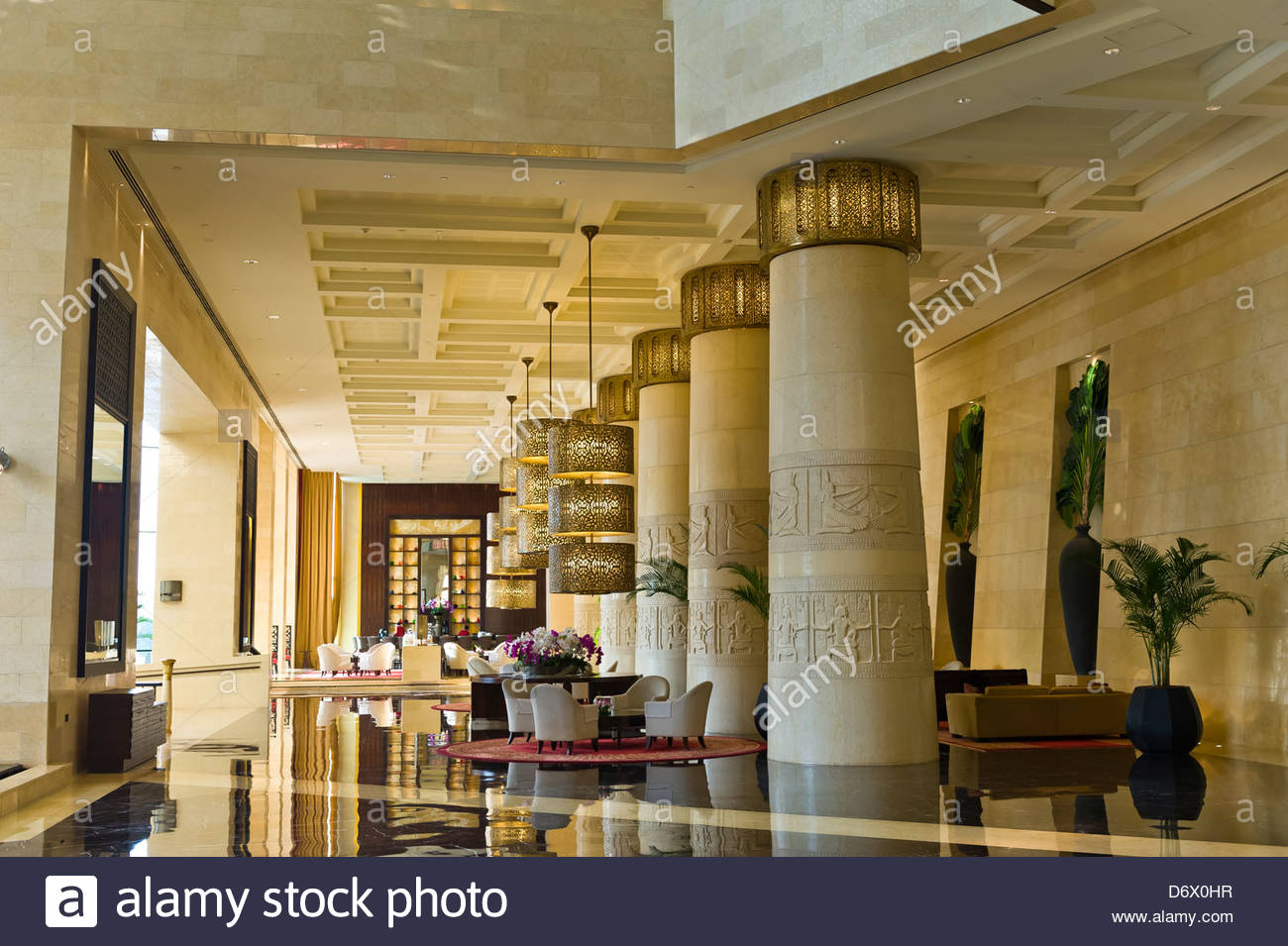 Lobby Of Raffles Dubai Hotel Egyptian Themed Hotel Dubai