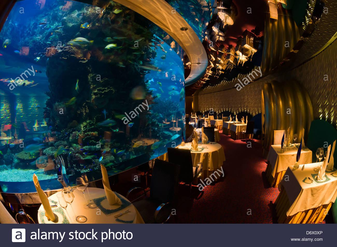 The Underwater Themed Al Mahara Restaurant In The Burj Al