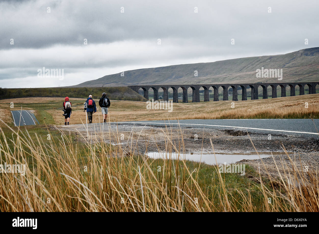 Walkers approaching Whernside and Ribblehead Viaduct walk, North Yorkshire, England. Part of the 3 peaks challenge. - Stock Image
