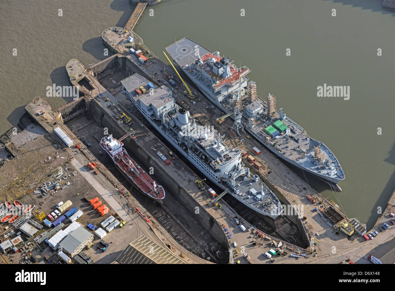 Aerial photograph of Ships in dry dock for repairs in Birkenhead Merseyside. Cammell Laird Shipyard - Stock Image