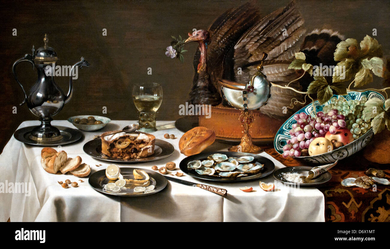 Still Live with turkey pie 1627 Pieter Claesz Dutch Netherlands - Stock Image