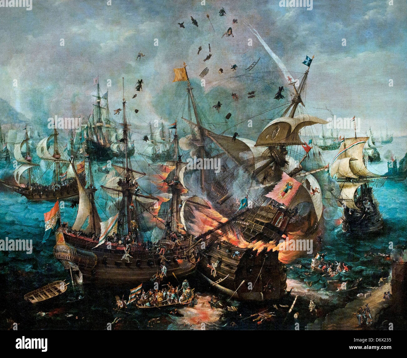 The Explosion of the Spanish Flagship during the Battle of Gibraltar 1621 Cornelis Claesz van Wieringen Dutch Netherlands - Stock Image