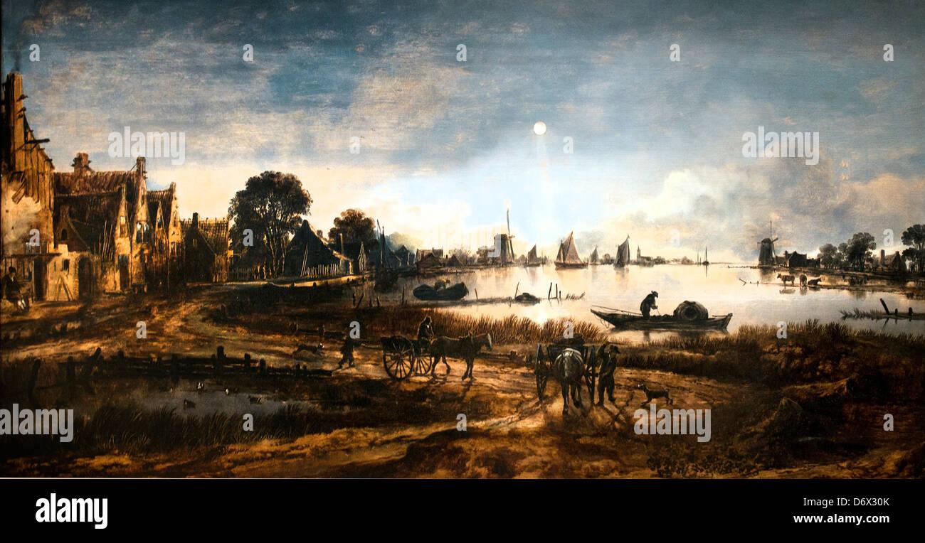 River View by Moonlight 1640 Aert van der Meer 1603-1677 Dutch Netherlands - Stock Image