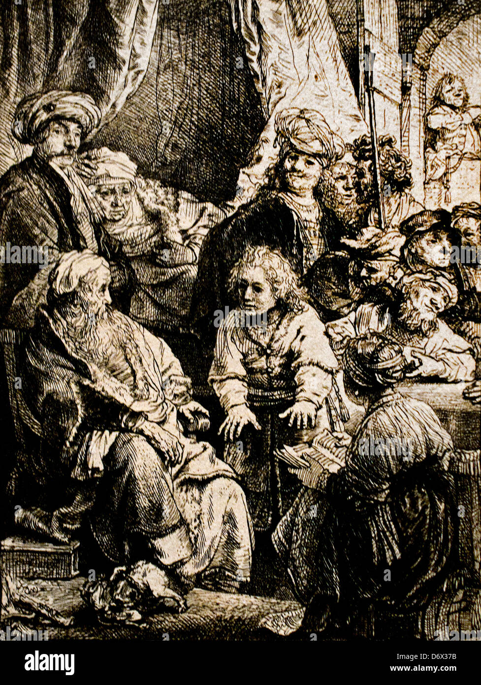 Joseph Telling his dreams 1638 Rembrandt Harmenszoon van Rijn Dutch 1606–1669 Netherlands etching drypoint - Stock Image