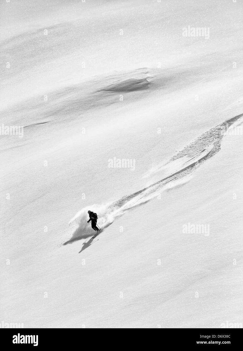Off piste skiing in Arolla - Stock Image