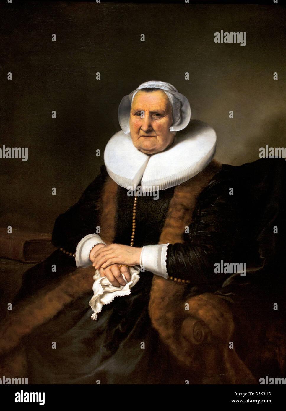 Portrait of a old Lady Elisabeth Bas 1640 Ferdinand Bol 1616-1680  Dutch Netherlands - Stock Image