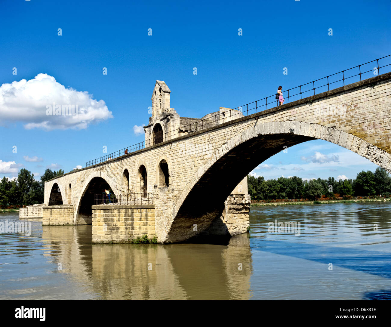 8524. Benezet Bridge & R. Rhone, Avignon, Provence, France, Europe - Stock Image