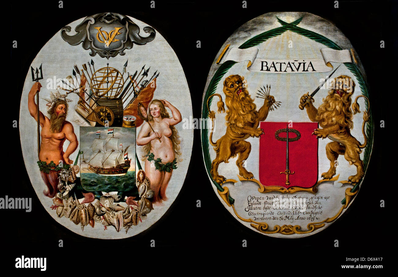 VOC The Arms of the Dutch East India Company and of the town Batavia ( Jakarta  Indonesia )1651 Jeronimus Becx Dutch - Stock Image