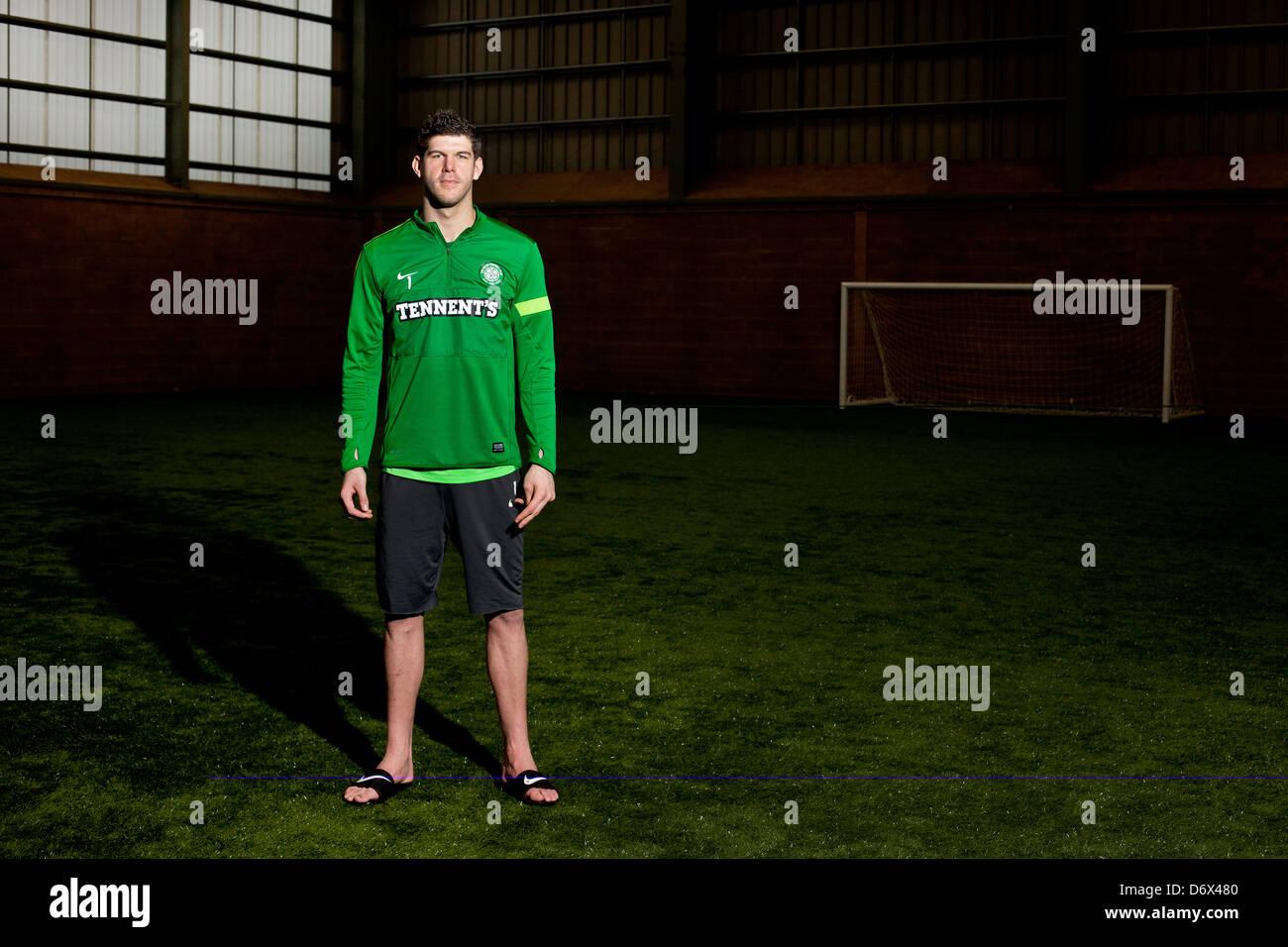 Portrait of Glasgow Celtic goalkeeper Fraser Forster, taken at the Celtic Training Centre, Lennoxtown, near Glasgow. - Stock Image