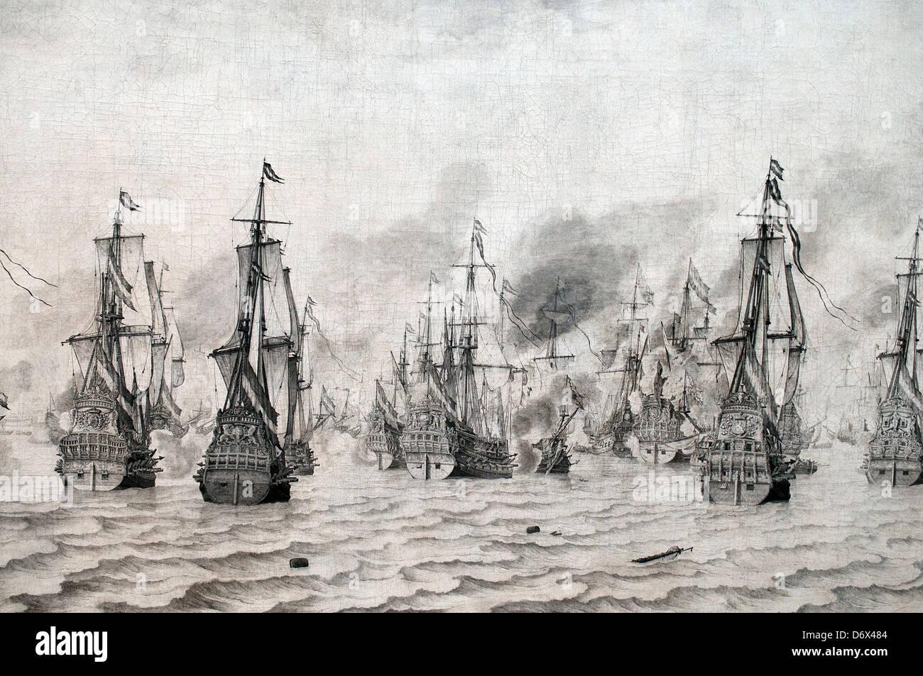 The Battle of Livorno ( Leghorn ) 1659 Willem van de Velde  1611-1693 Dutch Netherlands - Stock Image