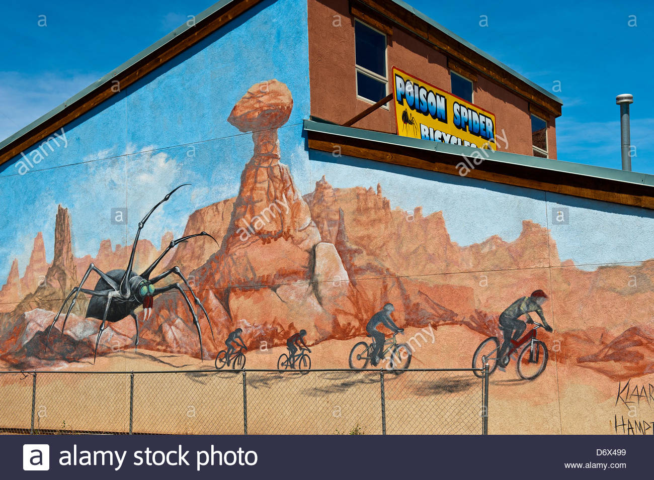 Mural, Poison Spider Bicycle Shop, Moab, Utah USA - Stock Image
