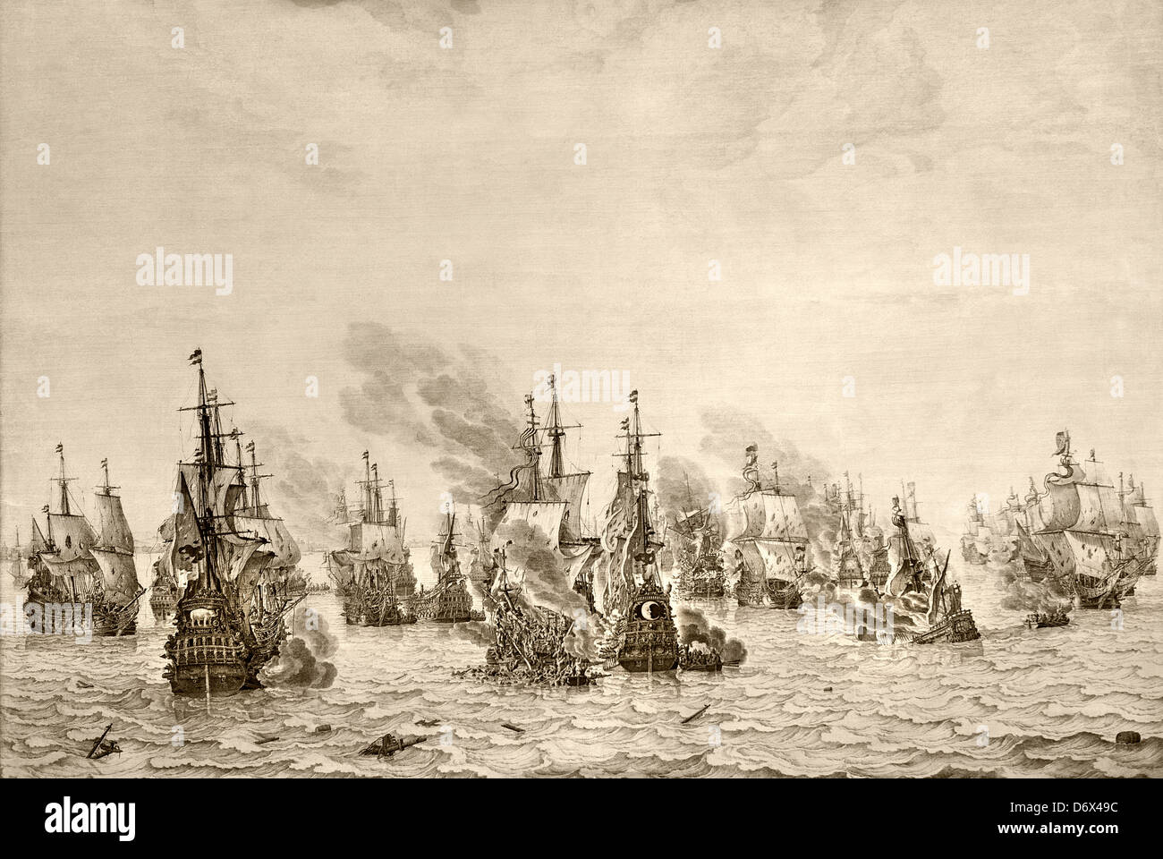 The battle against the Spaniards at Dunkirk 1659 De zeeslag tegen de Spanjaarden bij Duinkerken  Willem van de Velde - Stock Image