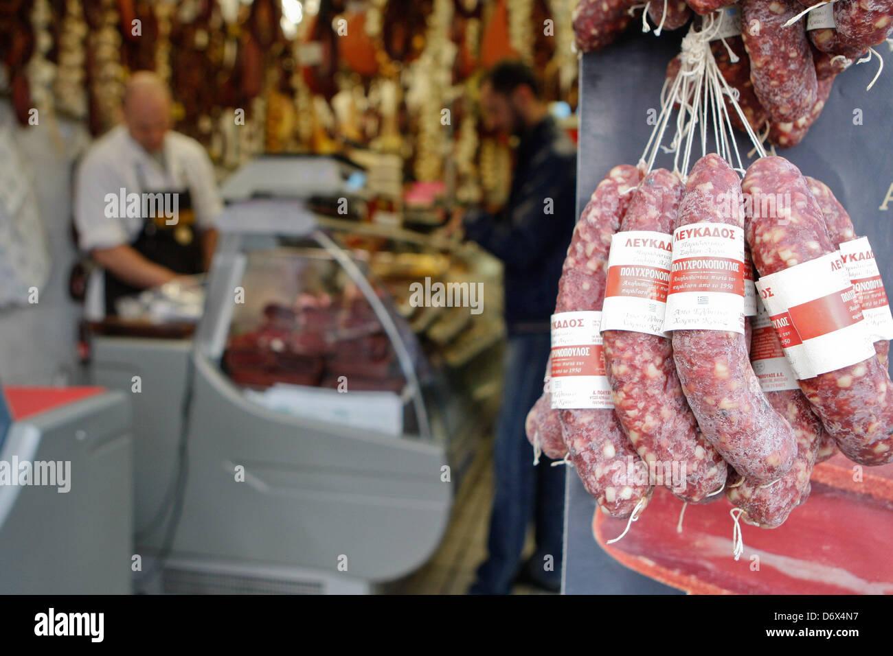 April 24, 2013 - Athens, Greece - Delicatessen butcher's sell Pastırma or bastirma or basturma is a highly seasoned, Stock Photo