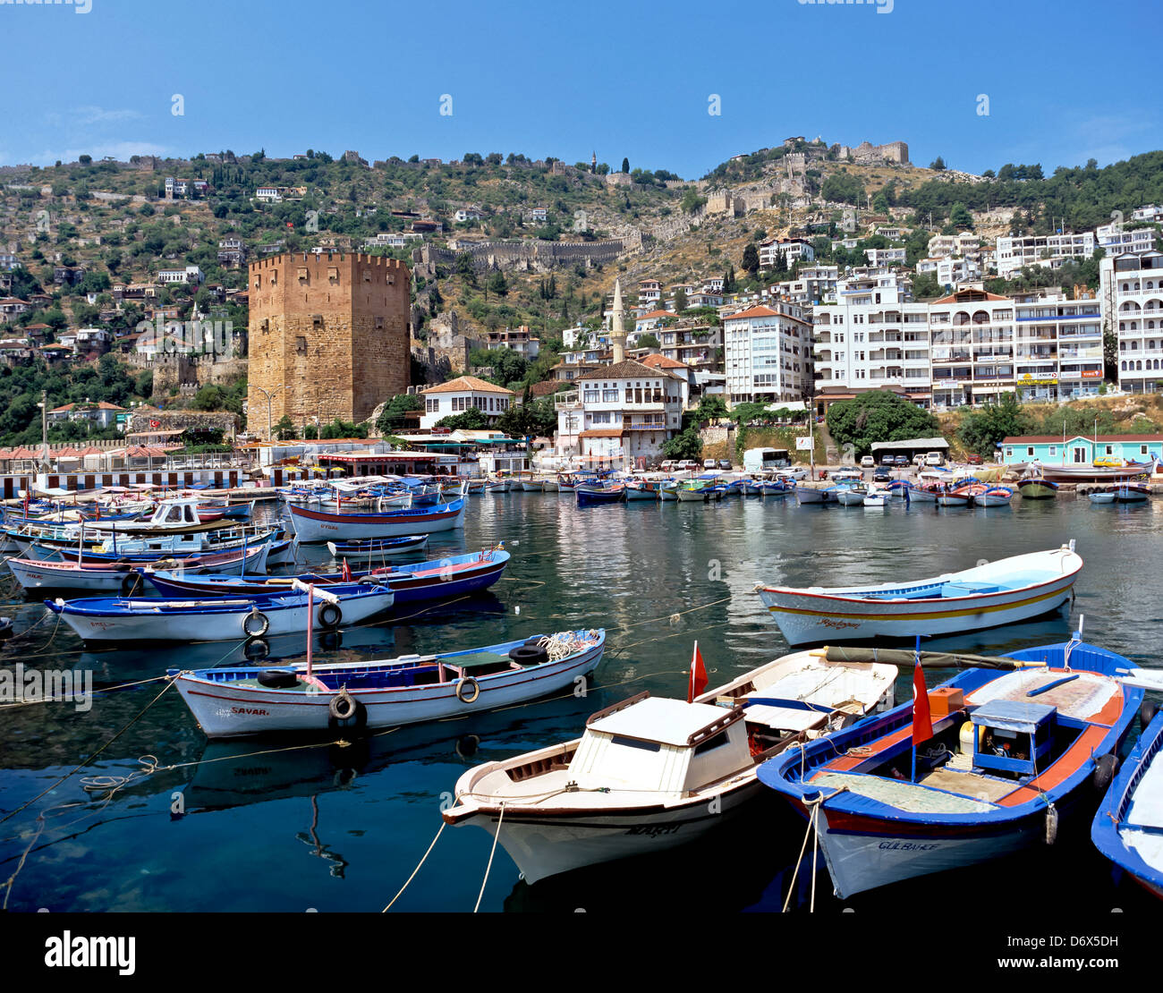 8559. Harbour, Red Tower and Castle, Alanya, Turkey, Europe - Stock Image