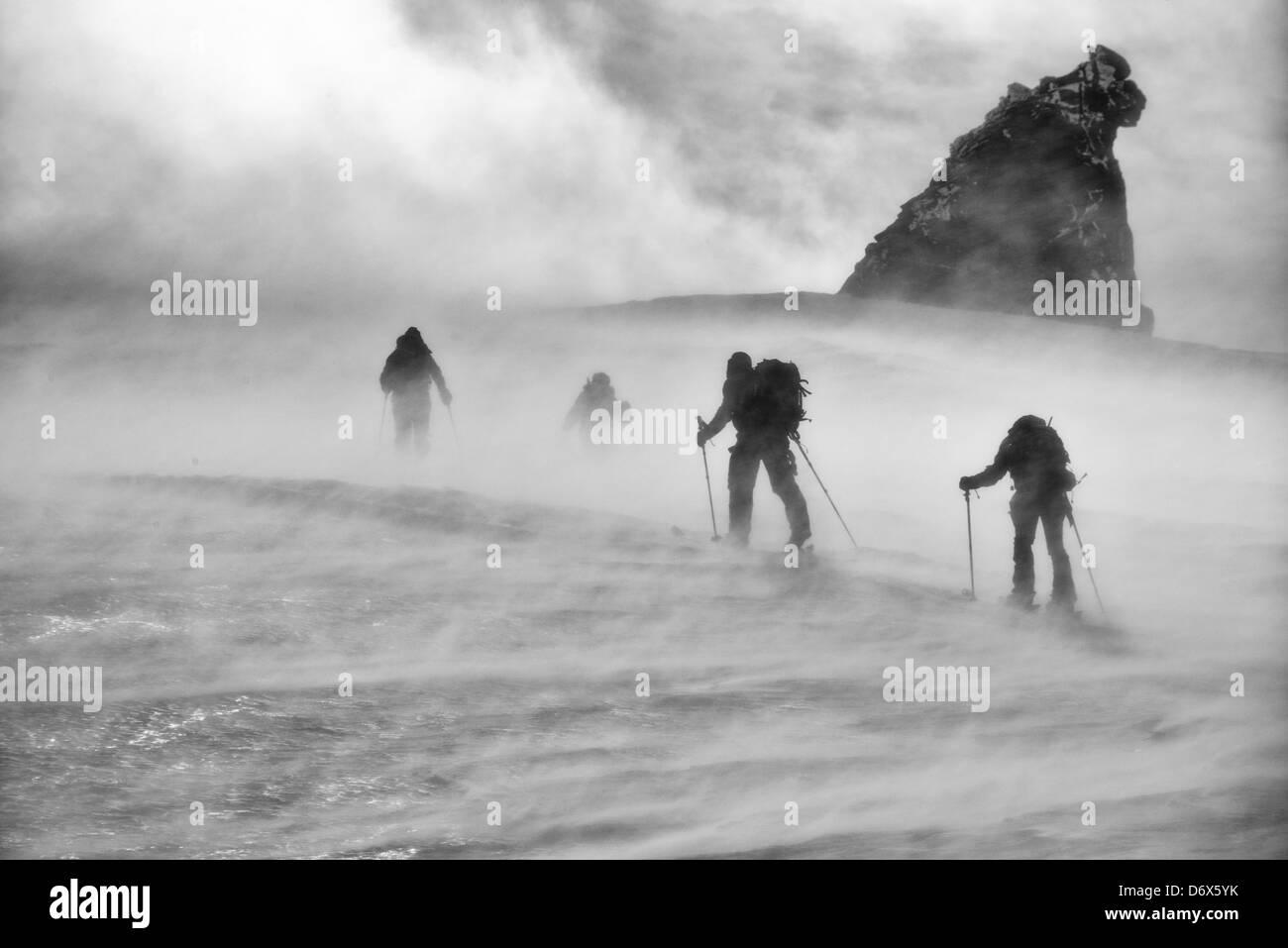 A windy morning ski touring on the Gran Paradiso Stock Photo