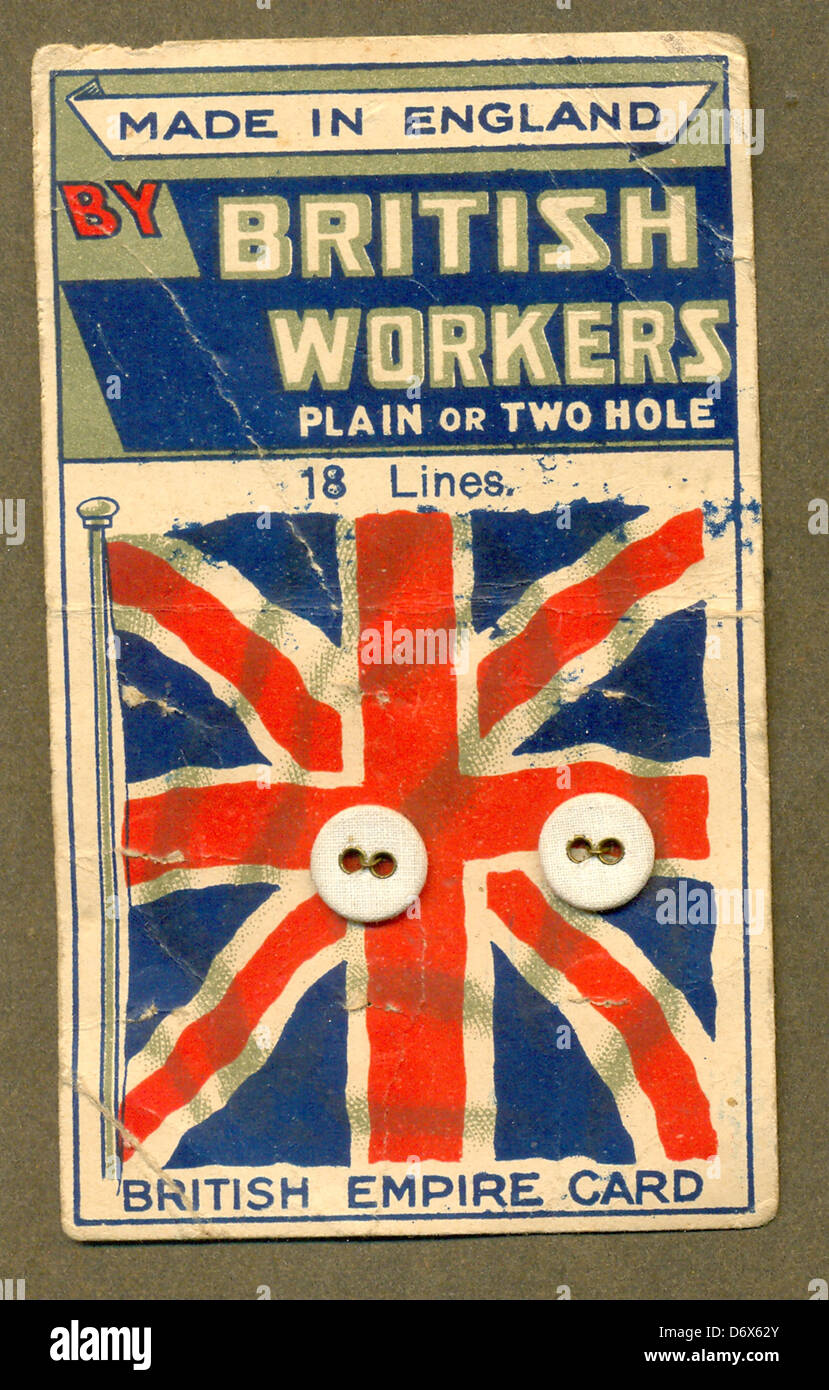 Linen-button Card Made in England by British Workers - Stock Image