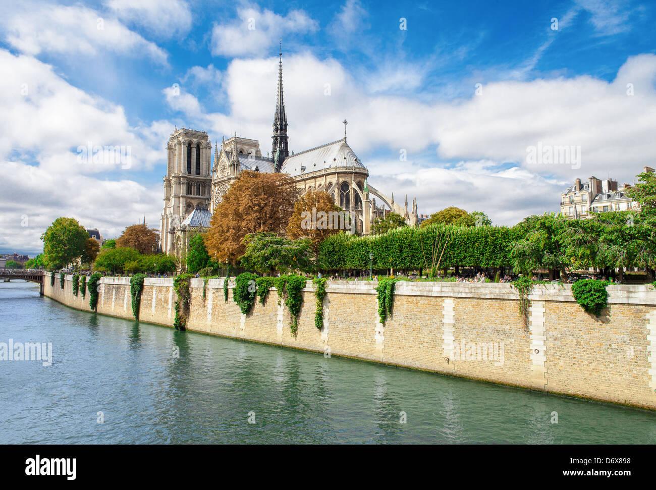 Notre Dame de Paris, France landmark. Seine river view. - Stock Image