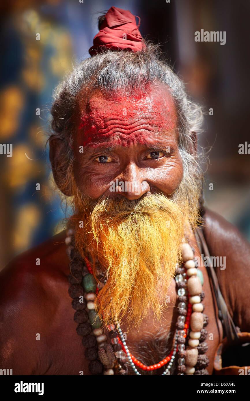 Sadhu, India Hindu Holy Man with beard, portrait, street of Pushkar, Rajasthan, India - Stock Image