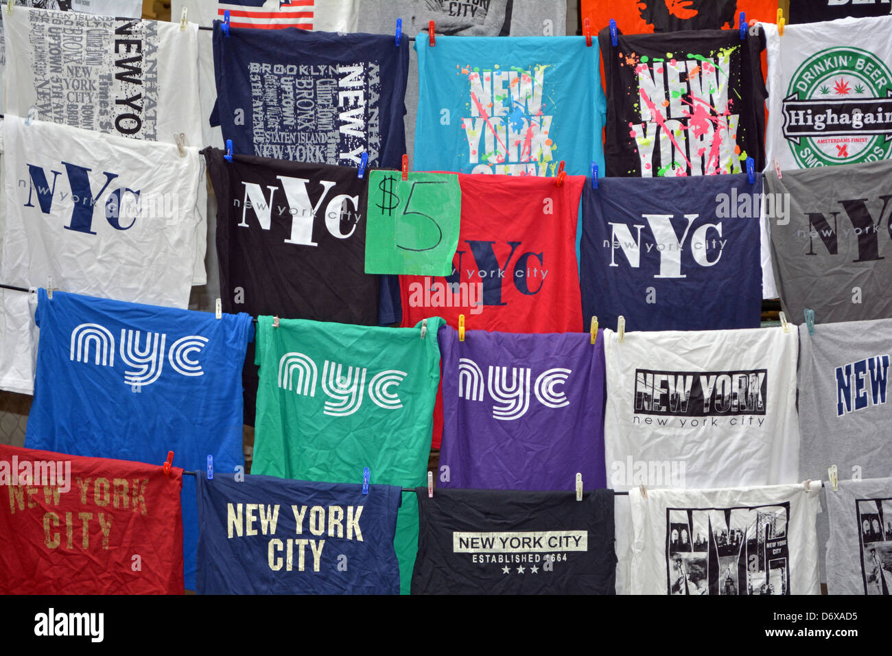 New York City t-shirts for sale at a street fair in Greenwich Village in New  York City. 6c79bd107b7