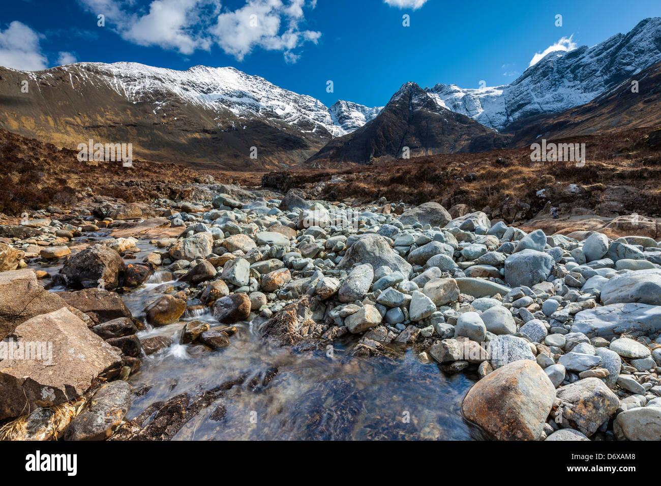 The Cuillin Hills from beside the Allt Coir a Mhadhaidh on the Fairy Pools walk, Glen Brittle, Isle of Skye, Scotland - Stock Image