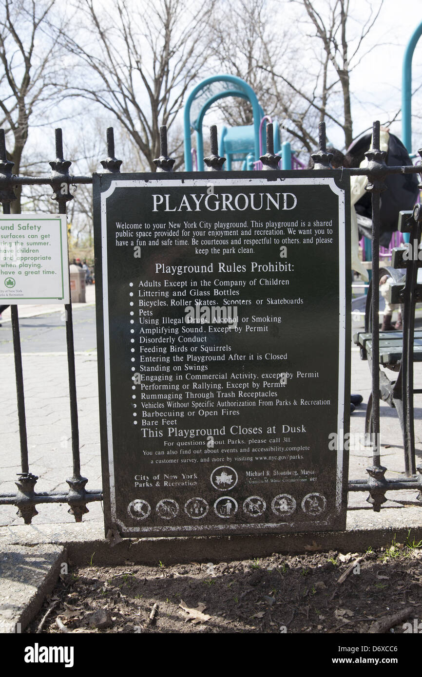 Playground rules at Mount Prospect Park; Brooklyn; NY. - Stock Image
