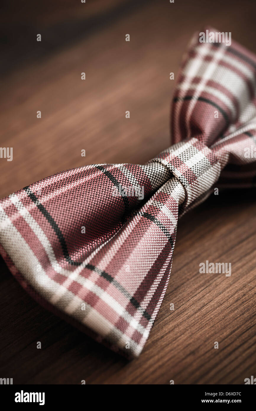 italian silk bow tie in close up - Stock Image