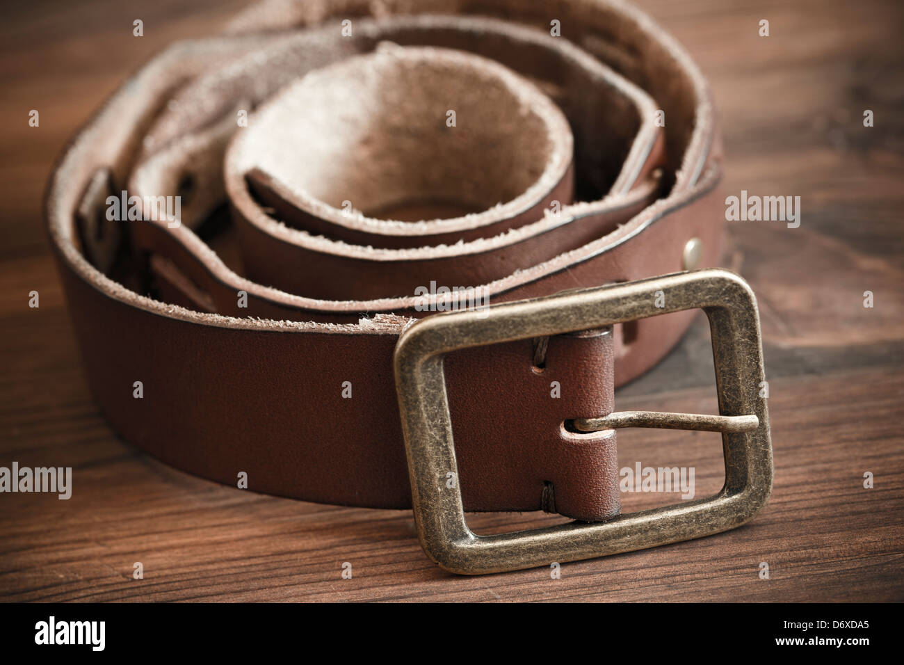 leather belt in close-up - Stock Image