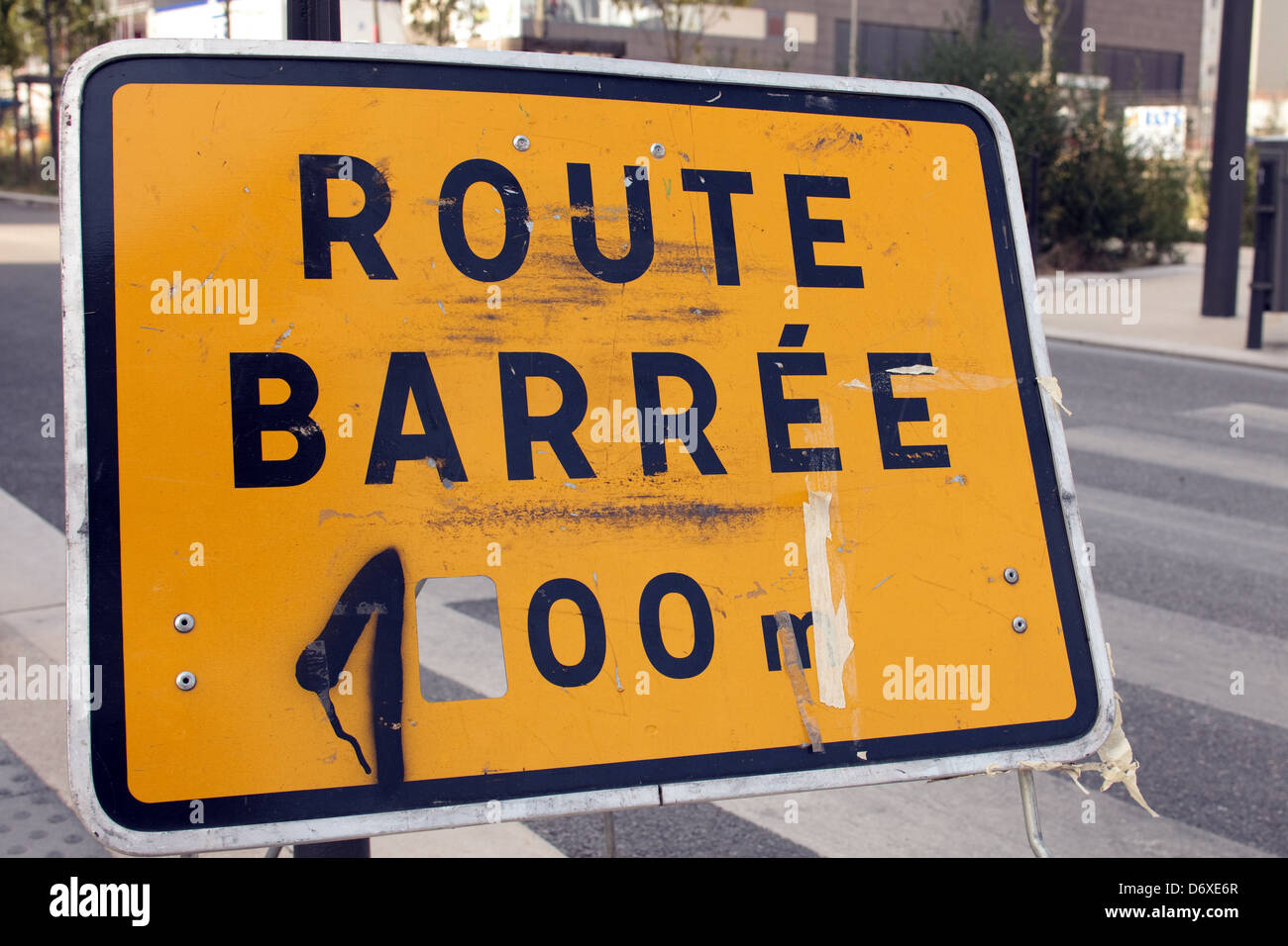 Route Barree sign in Lyon,France - Stock Image