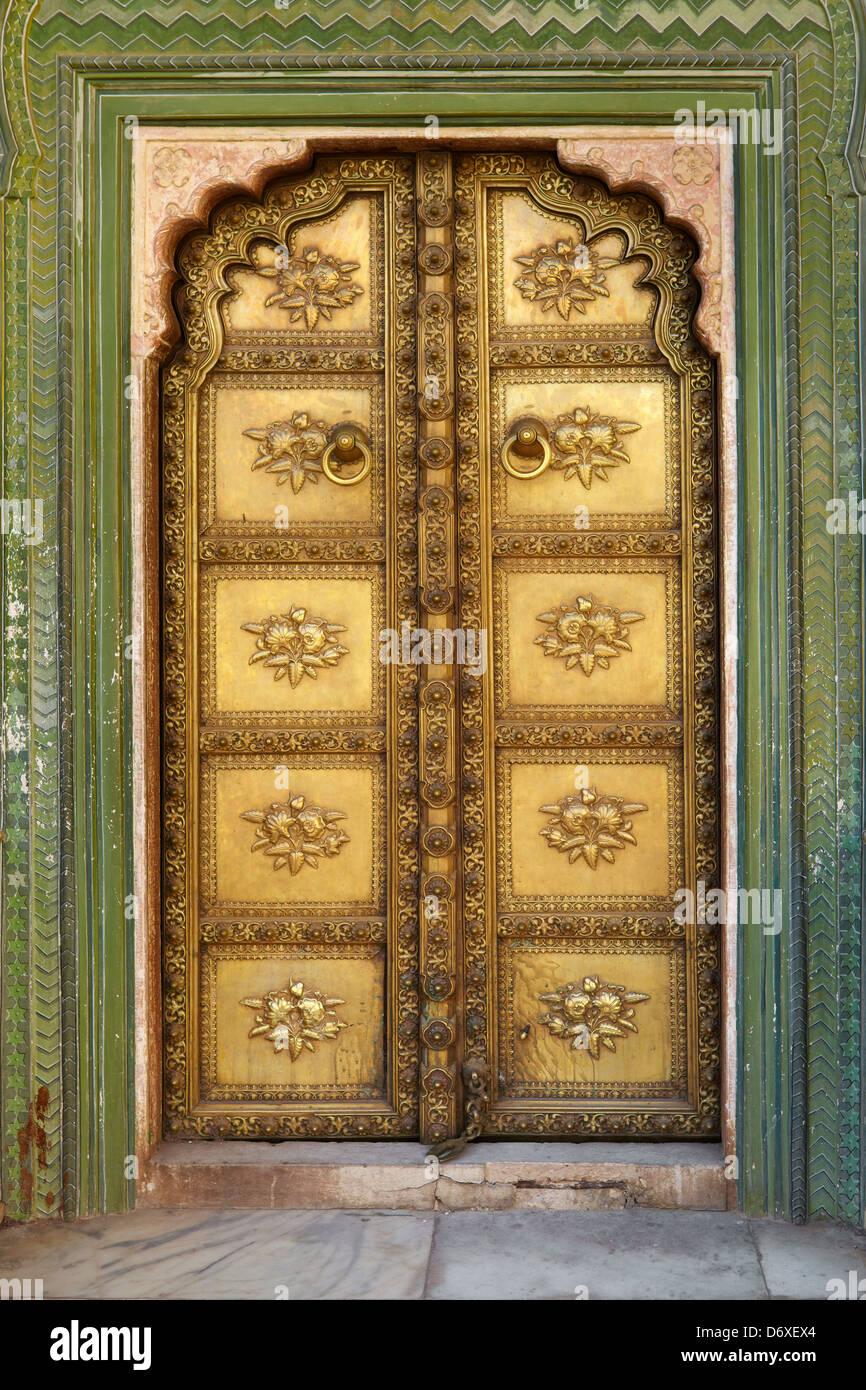 Decorative art door, Chandra Mahal, Jaipur City Palace, Jaipur, Rajasthan, India Stock Photo