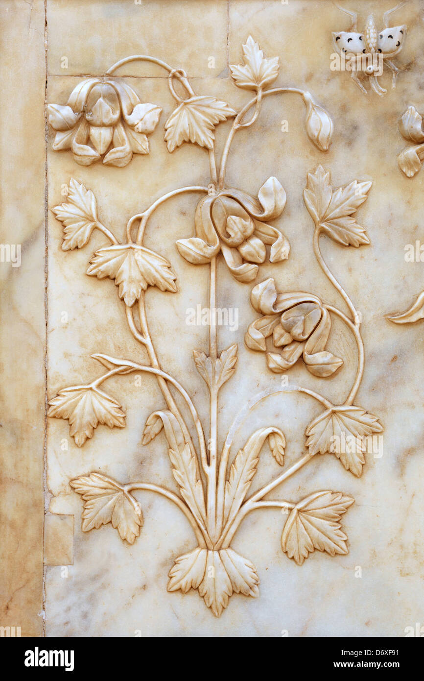 Marble decorative art detail on the wall in Amber Fort, Amer 11km near of Jaipur, Rajasthan, India - Stock Image