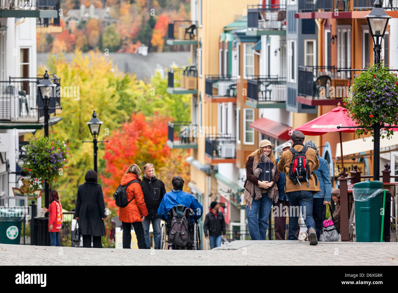 Tourists in Mont Tremblant Village, Autumn, Laurentians, Quebec, Canada - Stock Image