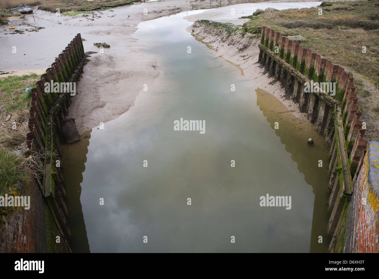 Drainage sluice water outflow low tide River Deben, Shottisham Creek, Suffolk, - Stock Image
