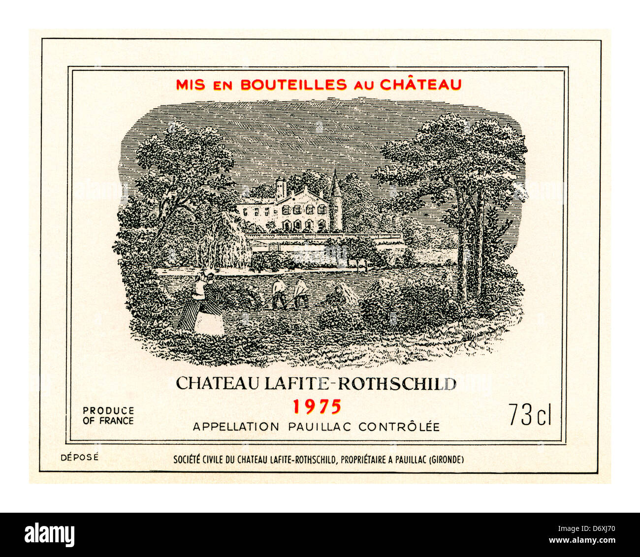 Chateau Lafite-Rothschild 1975 fine red wine bottle label Pauillac Medoc Gironde Bordeaux France - Stock Image