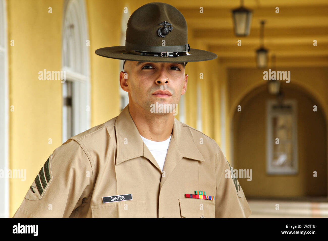 US Marine Corps drill instructor Sgt. Angel A. Santos at ...