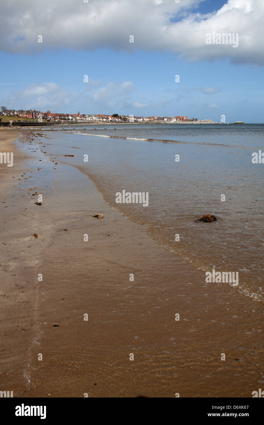 The Wales Coastal Path in North Wales. Picturesque view of Colwyn Bay and the Irish Sea, with Rhos on Sea in the - Stock Image